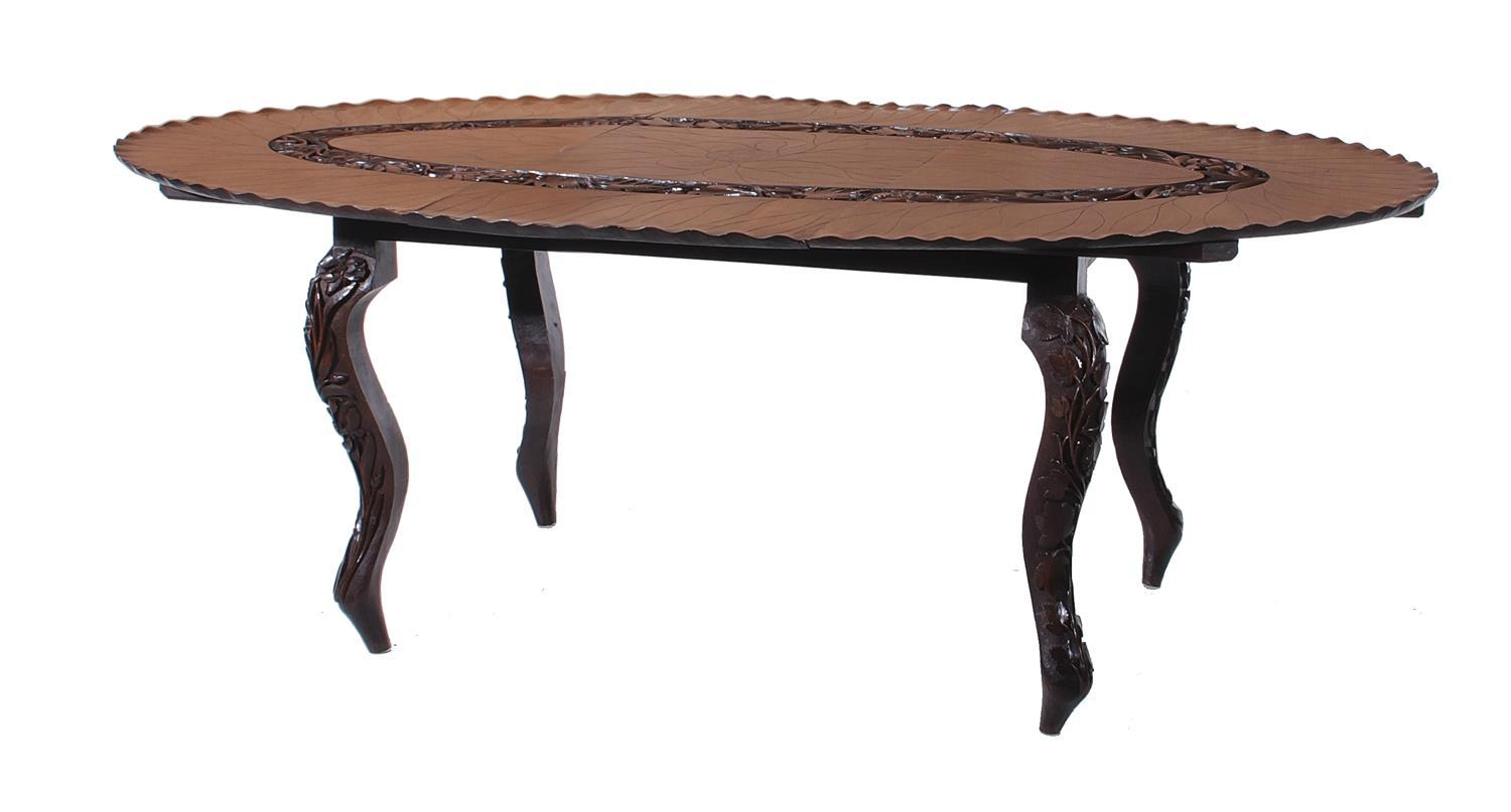 Rare Anglo-Indian Colonial carved rosewood center table
