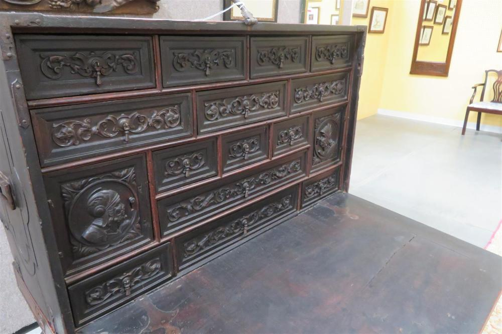 Spanish Colonial carved walnut vargueno cabinet on stand
