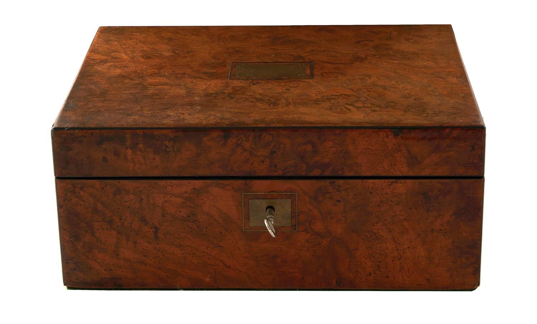 English burl walnut writing box