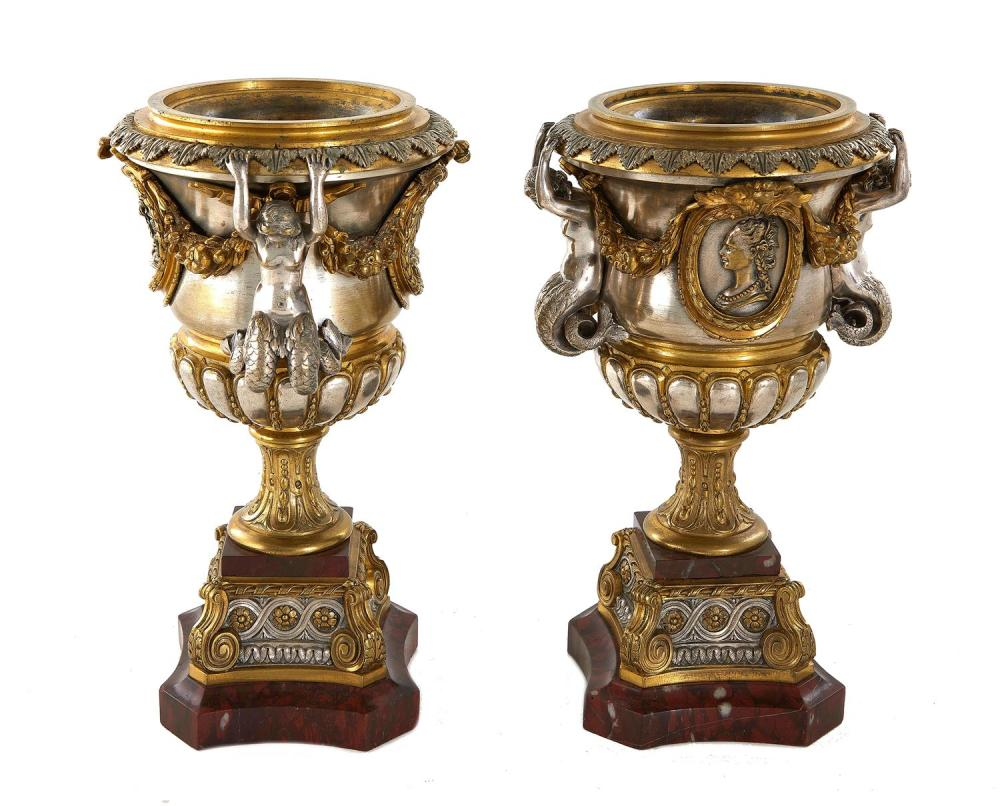 Gilded Age silvered-and-gilded bronze and marble garniture urns (2pcs)