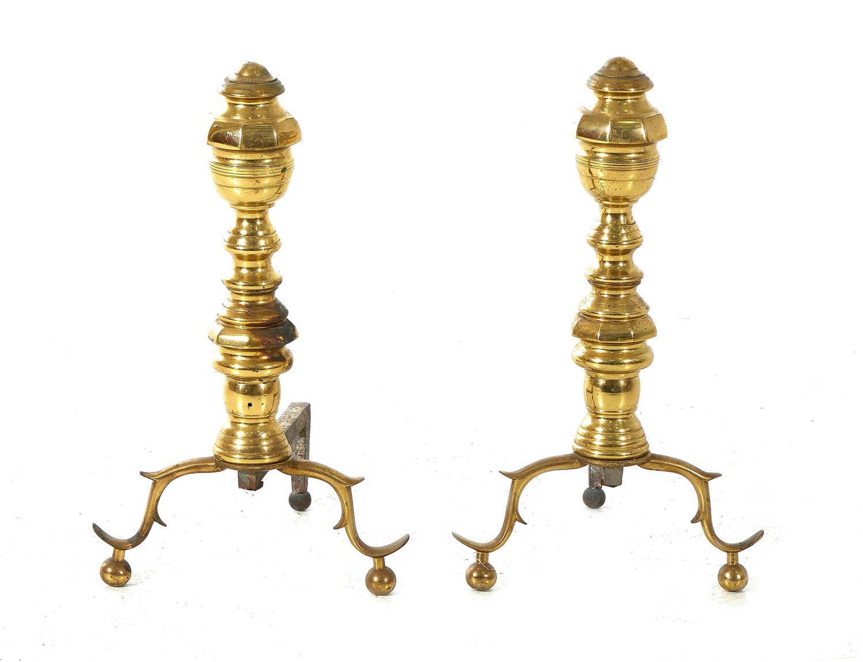 Pair Federal brass andirons (2pcs)