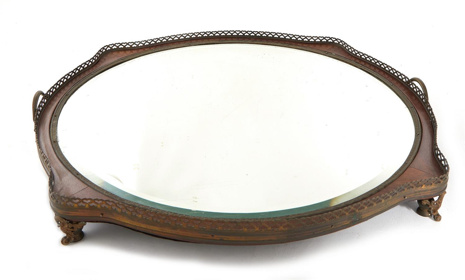 French metal-mounted and parquetry mirrored plateau