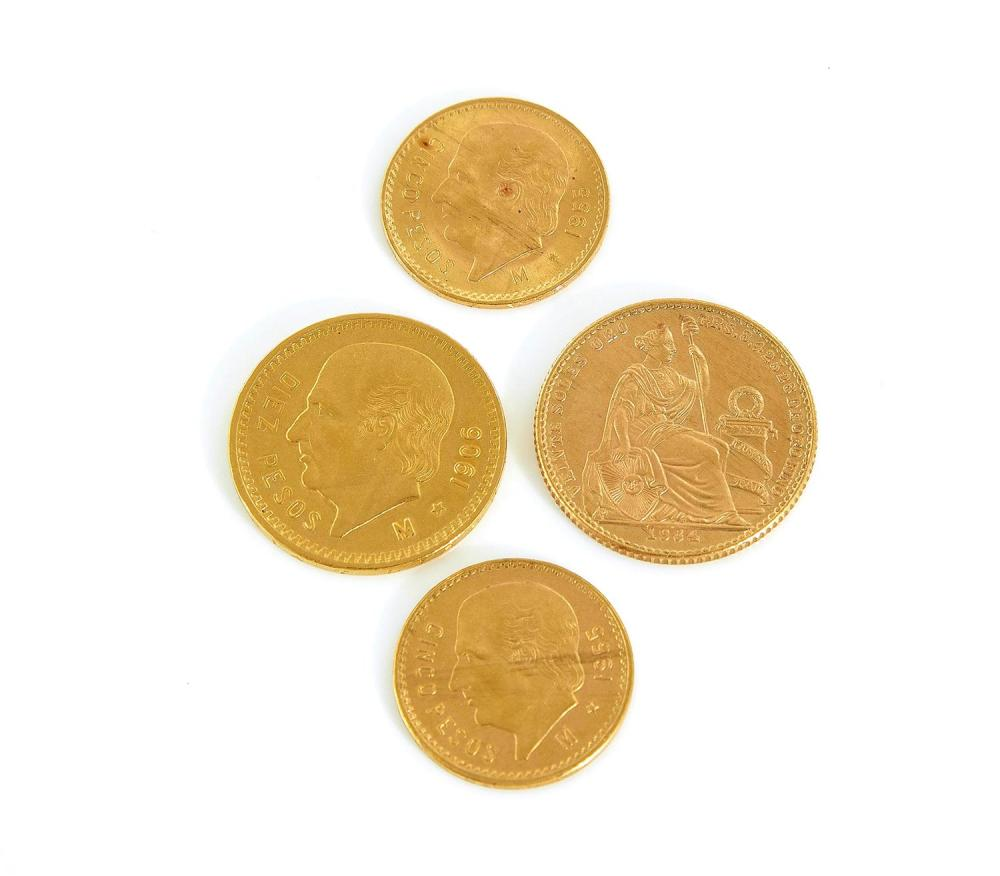 Mexican and Peruvian gold coins (4pcs)
