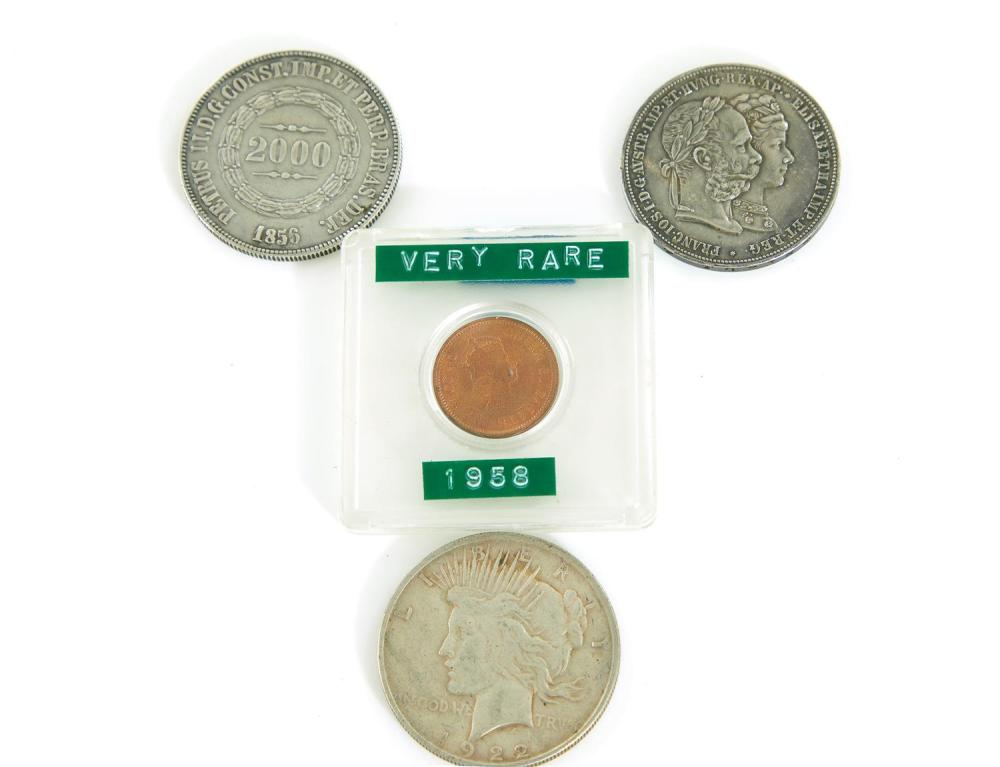 Rare and early Brazil, Austria, US and British-Caribbean coins (4pcs)