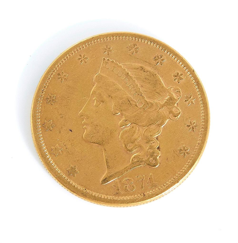 †United States 1874 Liberty head $20 gold coin