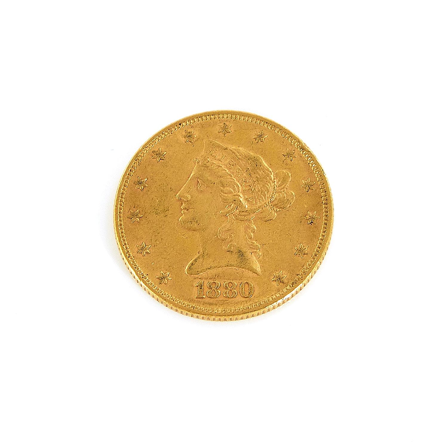†United States 1880 Liberty head $10 gold coin