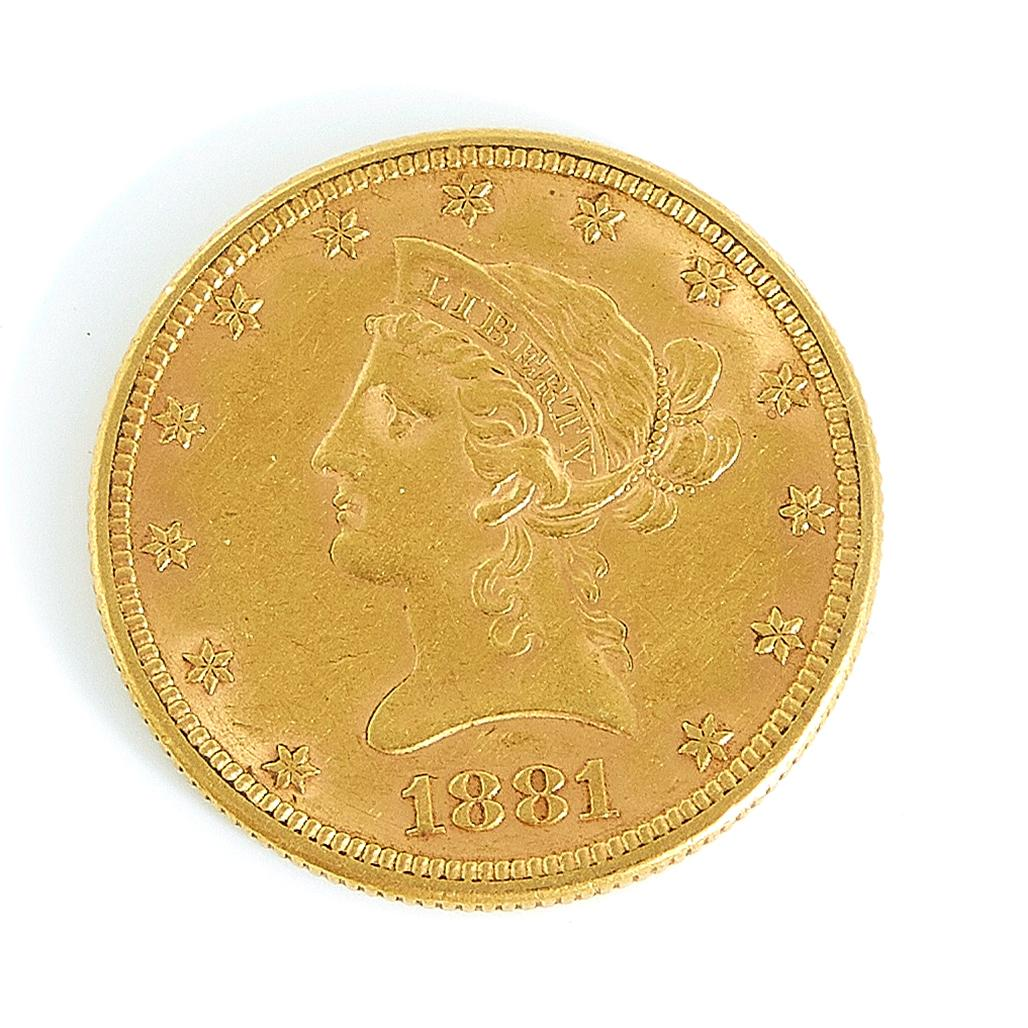 †United States 1881 Liberty head $10 gold coin
