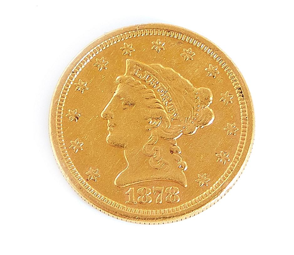 †United States 1878 Liberty head $2.5 gold coin