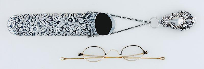 Unusual American sterling eyeglass case and gold spectacles