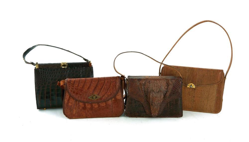 Vintage alligator handbags (4pcs)