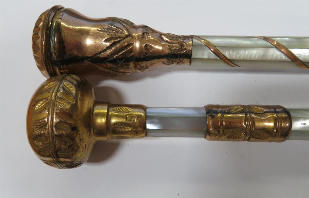 Antique parasol handles, and vintage American sterling compact (3pcs)