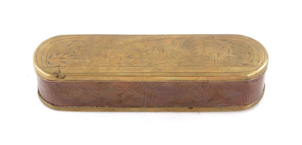 Dutch brass and copper tobacco box