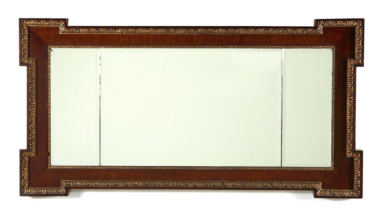 George II style carved parcel-gilt mahogany three-panel mirror