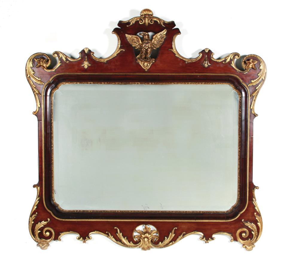 Georgian parcel-gilt walnut mirror
