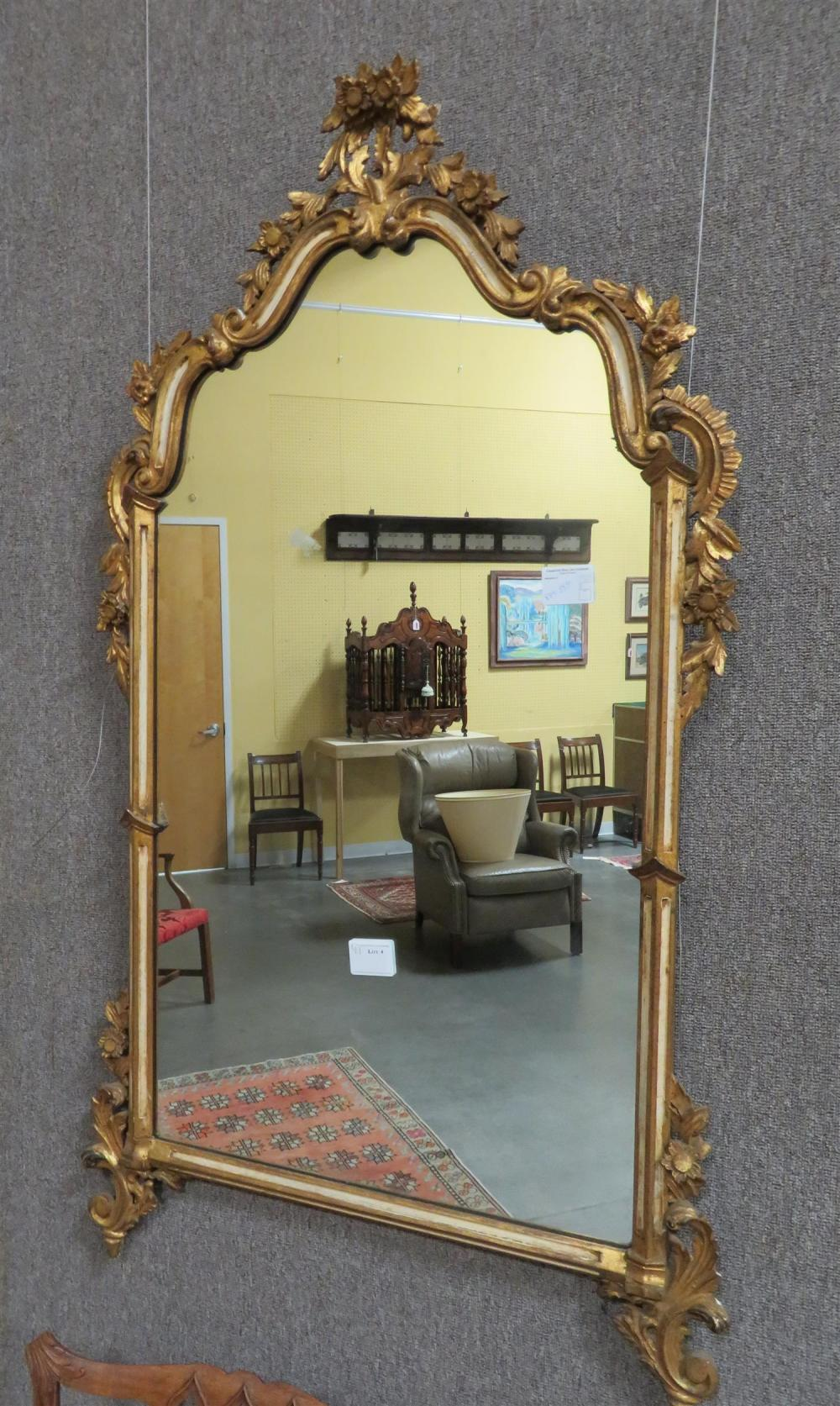 Near pair Continental carved giltwood mirrors (2pcs)