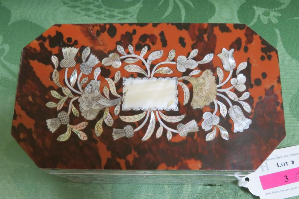 English shell and mother-of-pearl tea caddy