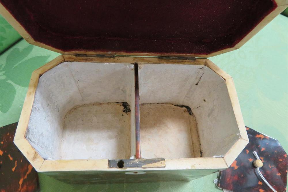 English style inlaid shell tea caddy