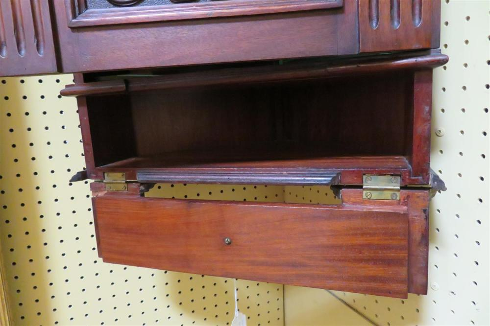 Continental carved mahogany hanging corner cabinet