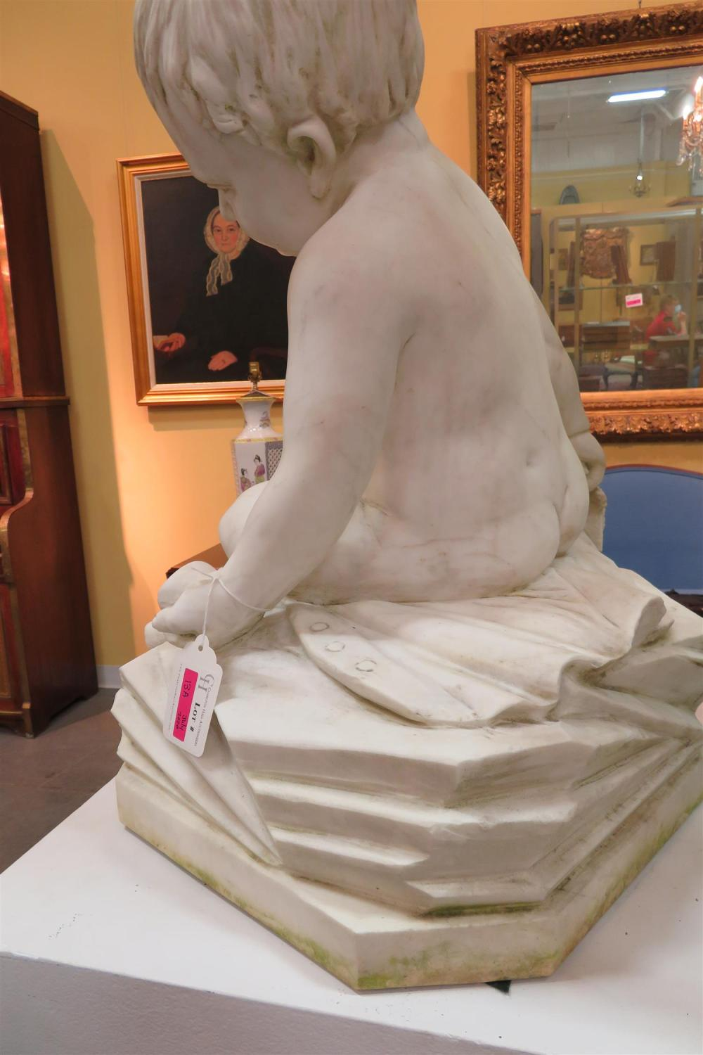 Continental school carved marble figure of young boy