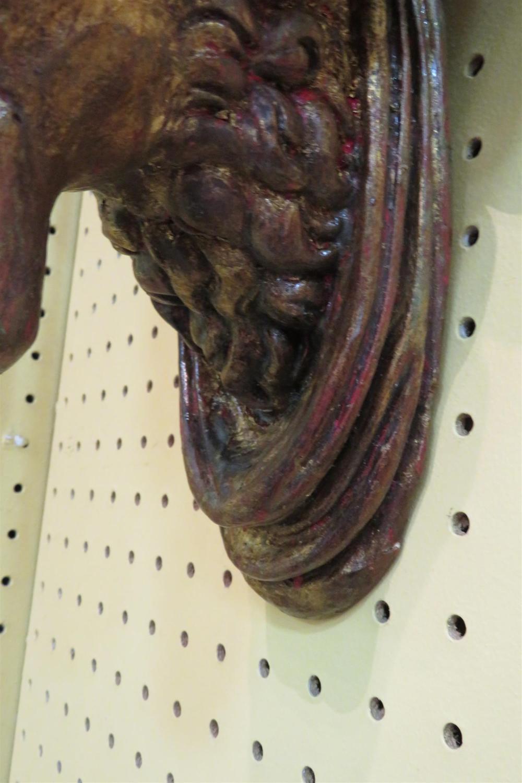 Pair ram's-head painted plaster wall brackets (2pcs)