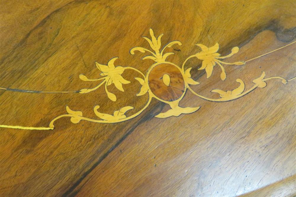 Continental inlaid walnut oval tilt-top center table