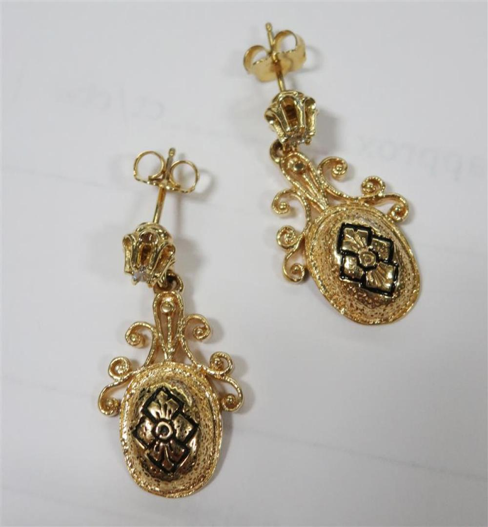 Gold necklaces, slide and pair diamond earrings (6pcs)