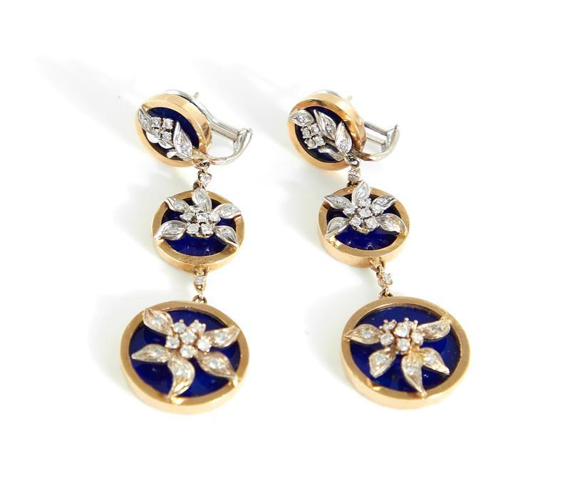 Pair diamond, lapis and gold earrings (2pcs)