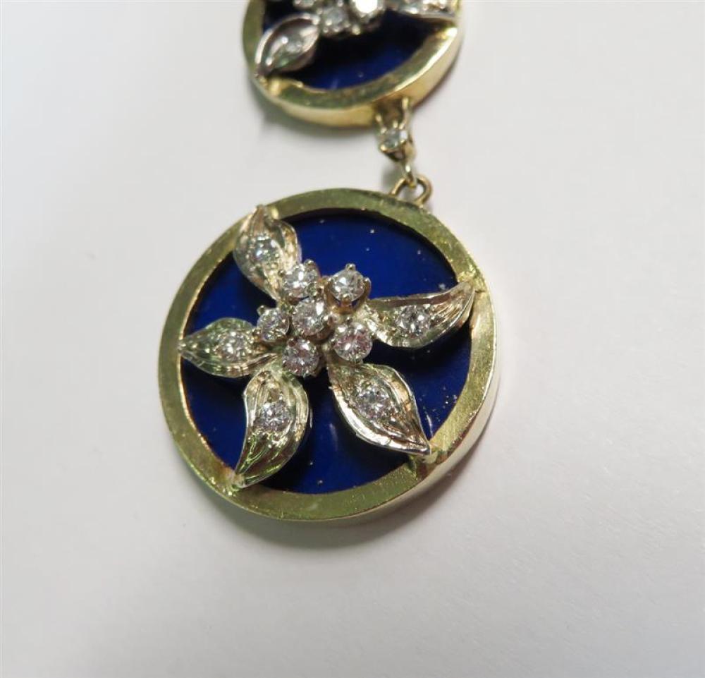 Pair diamond, lapis and gold earrings (2pcs)
