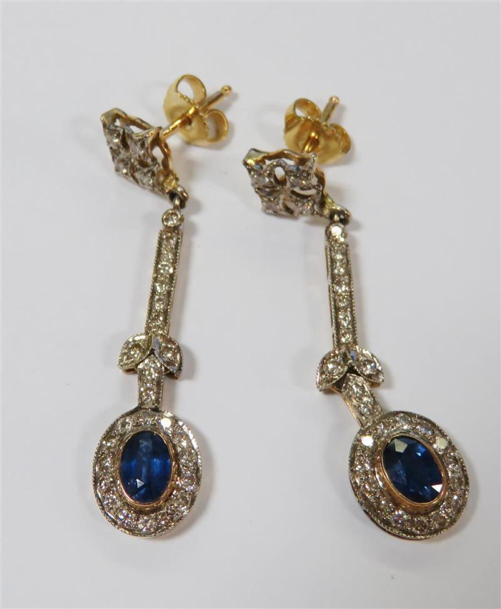 Pair sapphire and diamond earrings (2pcs)