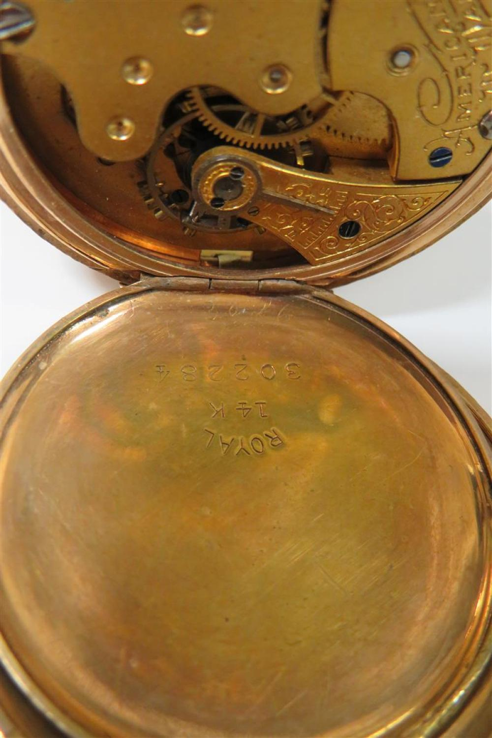 Waltham & Elgin gold hunting case pocket watches (2pcs)