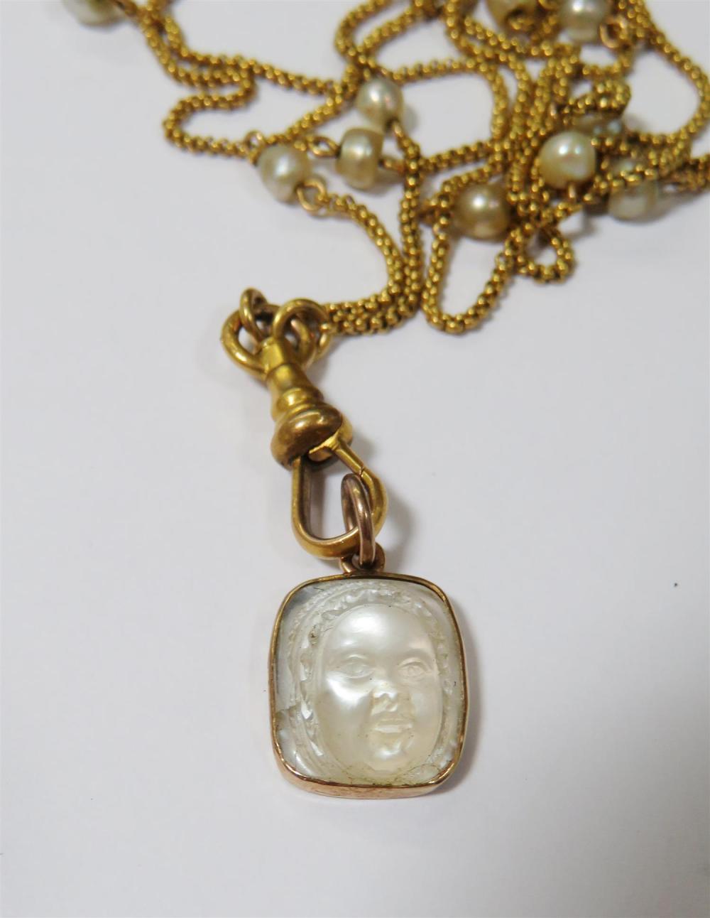 Antique coral and moonstone necklaces (2pcs)