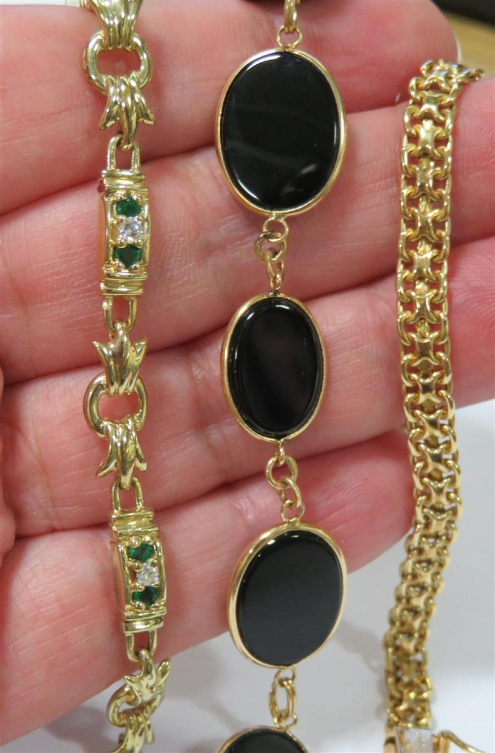 Gemstone, diamond and gold bracelets (4pcs)