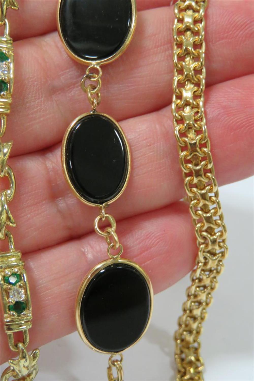 Gemstone, diamond and gold bracelets (4pcs)