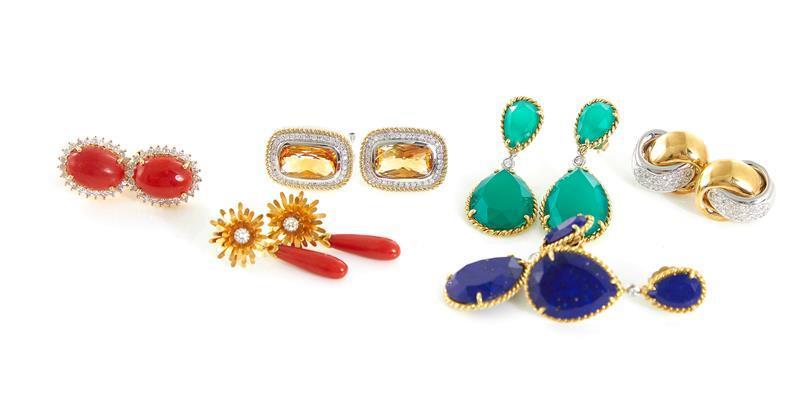 Gemstone and 18K gold earrings (12pcs)