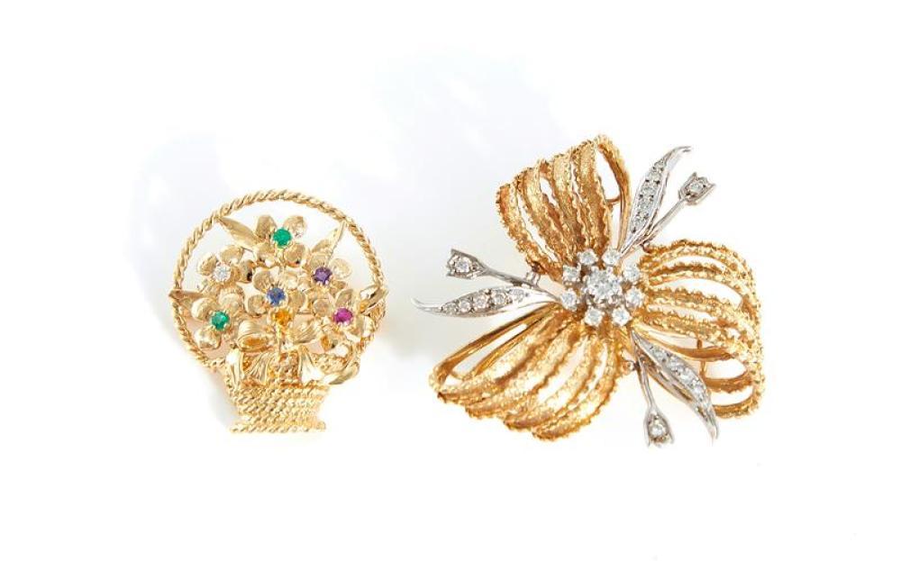 Diamond brooch, and gemstone brooch (2pcs)