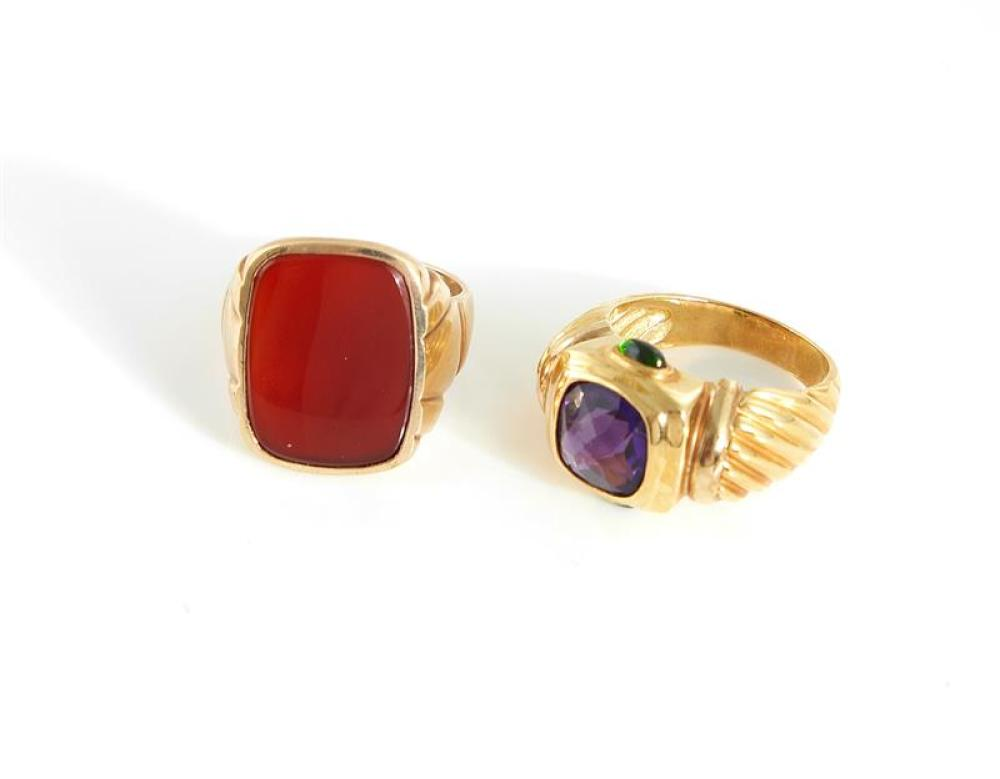 Amethyst ring, and carnelian ring (2pcs)