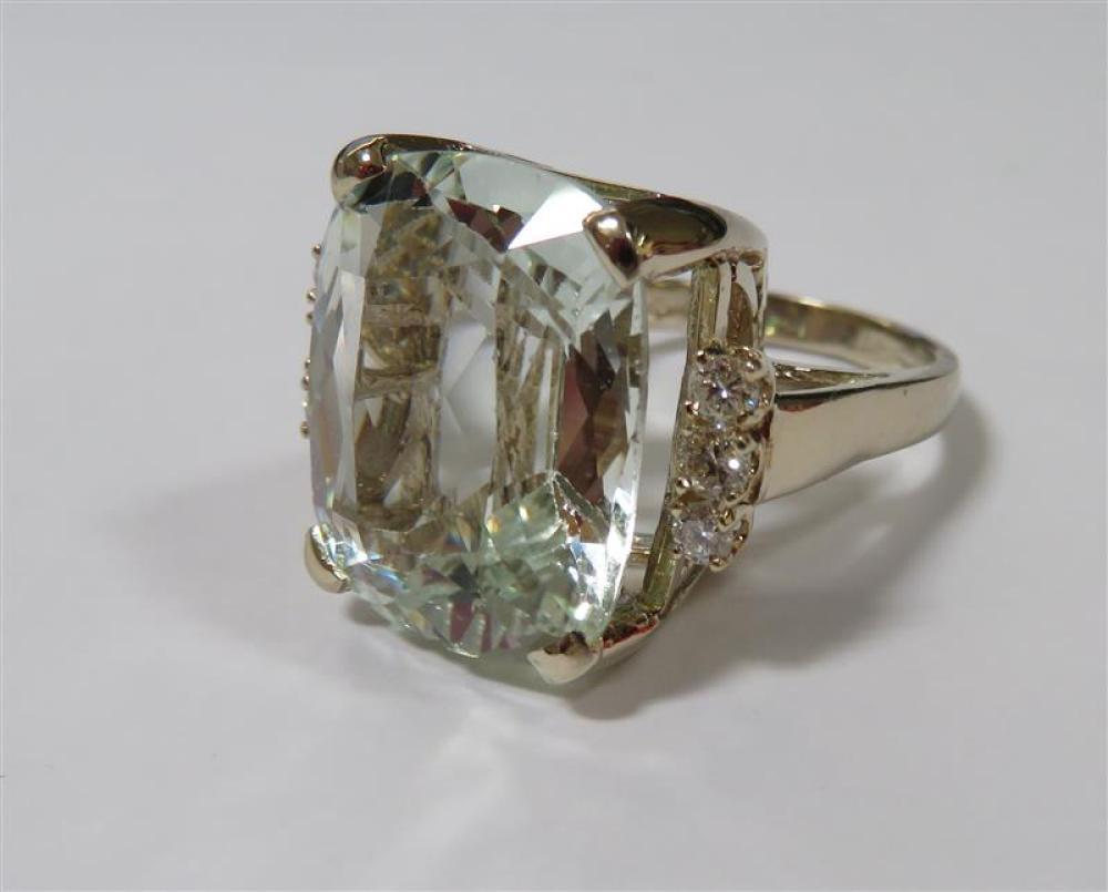 Aquamarine and diamond cocktail ring