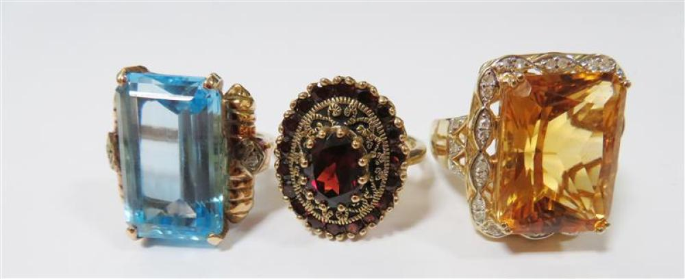 Gemstone and gold cocktail rings (3pcs)