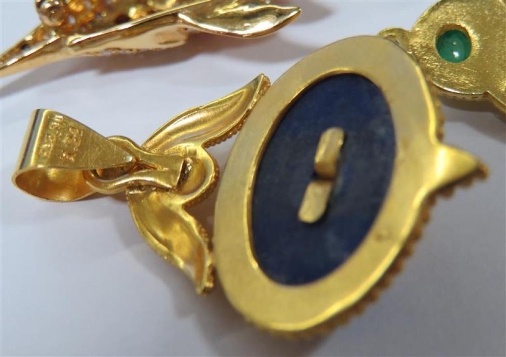 Diamond and gemstone pendants and fish brooch (3pcs)
