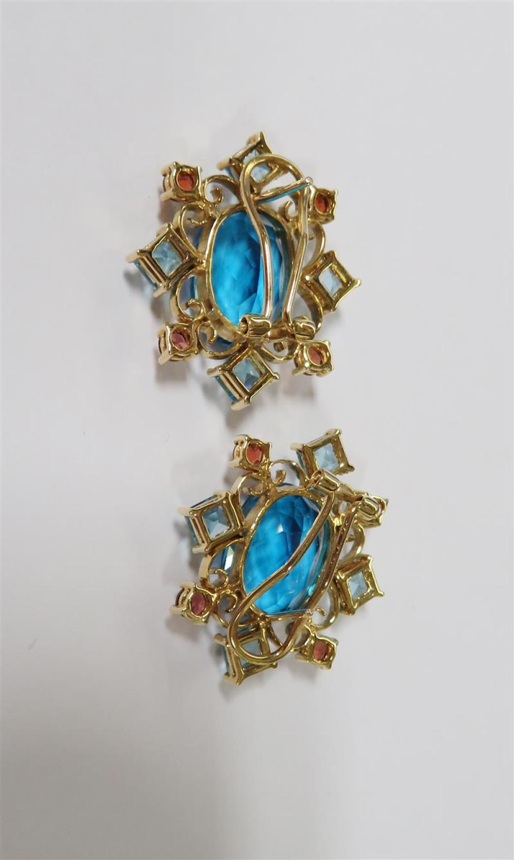 Gemstone, diamond and gold rings and earrings (5pcs)