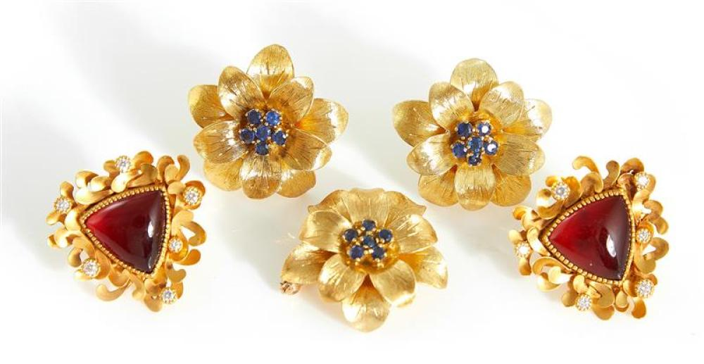 Tiffany & Co sapphire and gold earring and brooch set (5pcs)