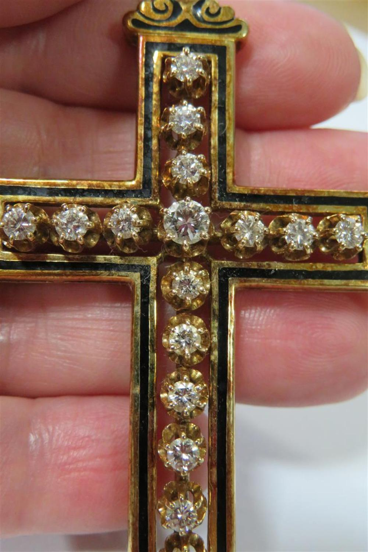 Diamond and enameled gold cross pendant