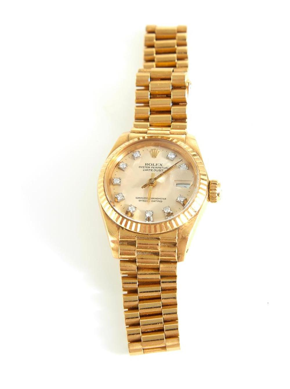 Vintage Rolex Oyster Datejust Presidential diamond and gold wristwatch