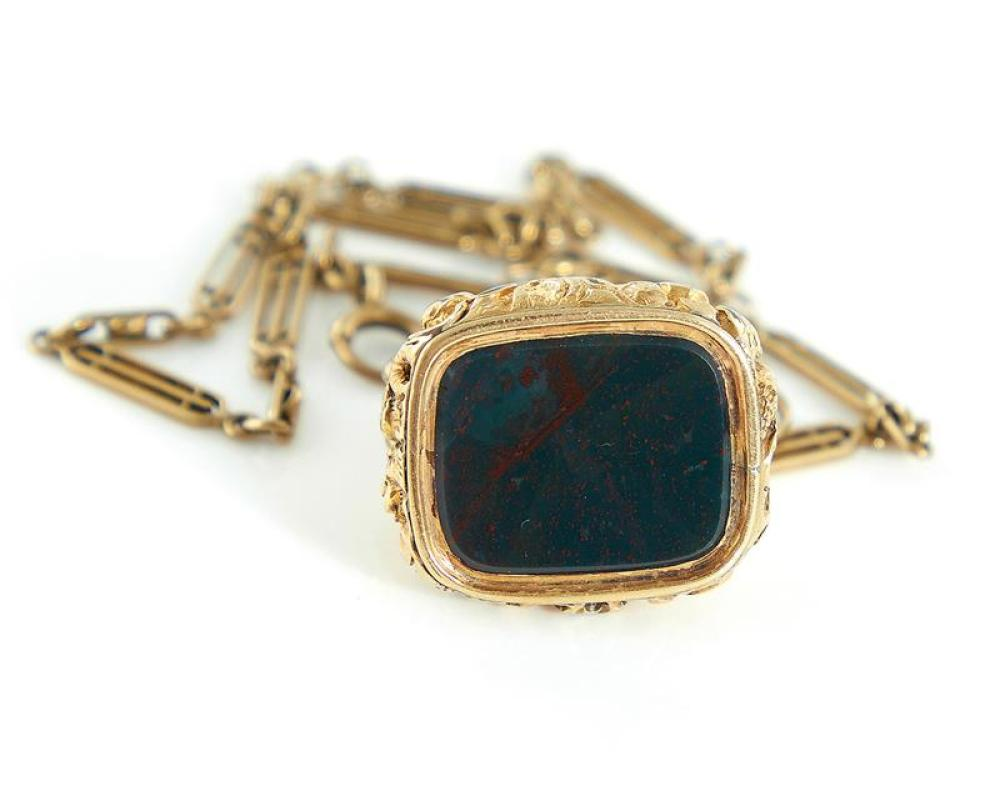 Antique bloodstone and gold fob on chain