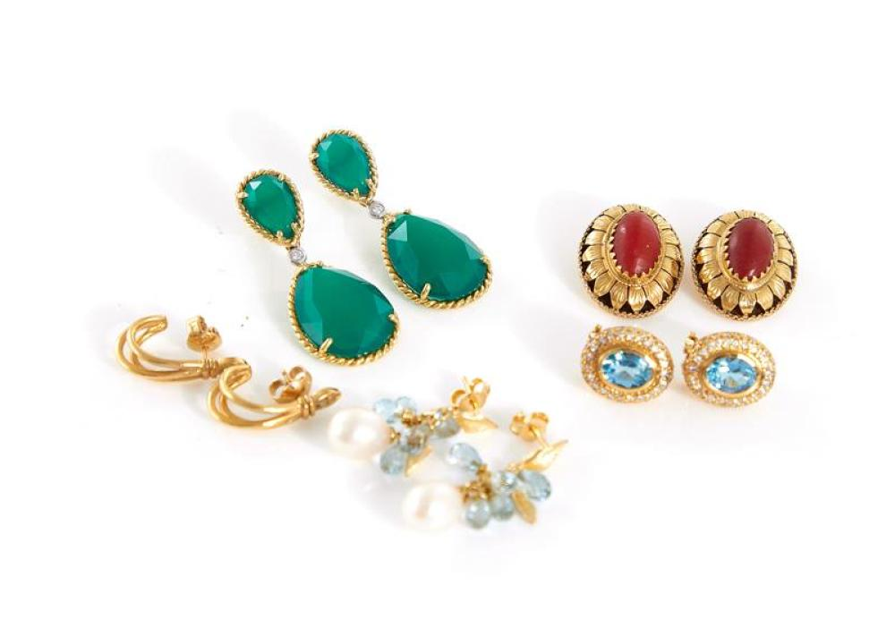 Gemstone and 18K gold earrings (10pcs)
