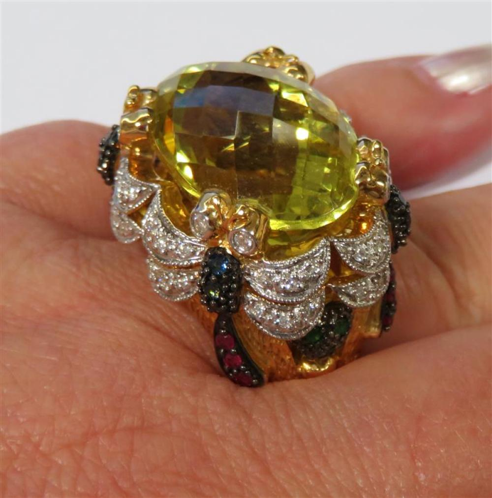 Gemstone and gold cocktail ring