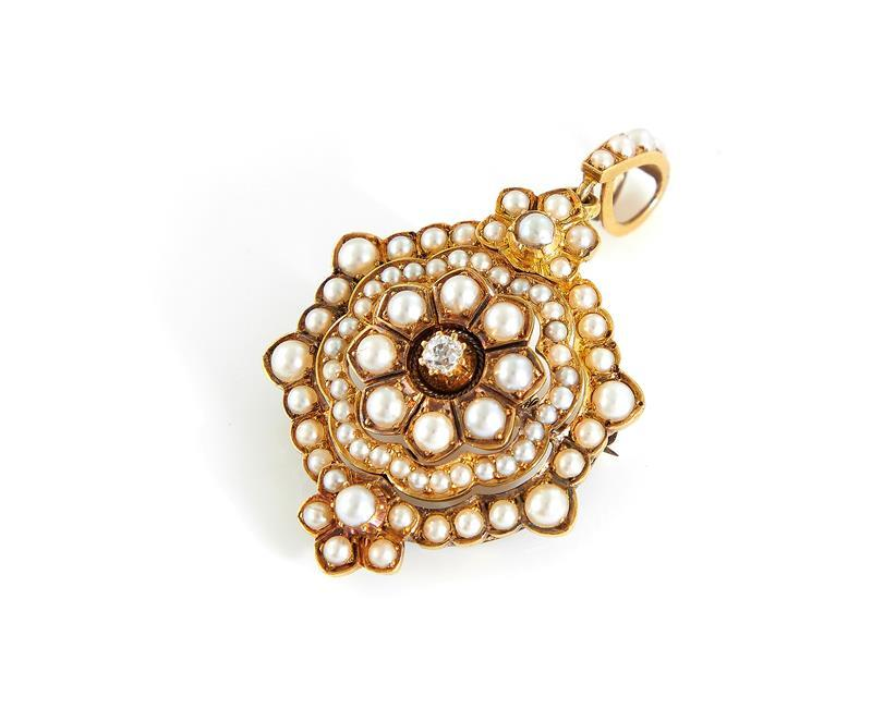 Edwardian pearl and diamond pendant/brooch