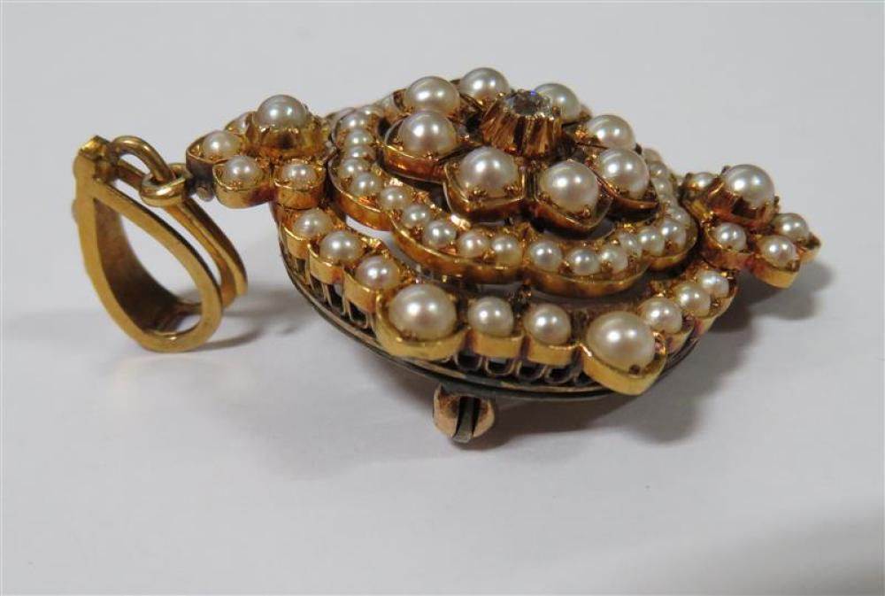 Edwardian pearl and diamond pendant/brooch
