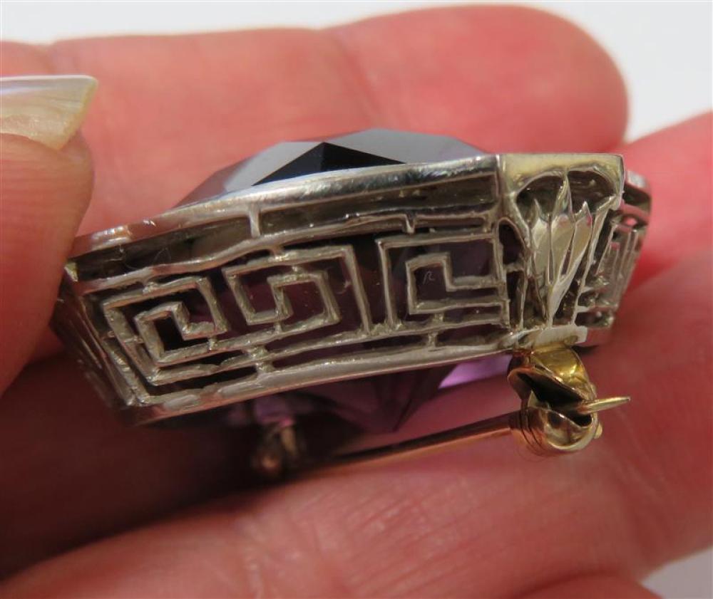 Art Deco platinum and amethyst brooch