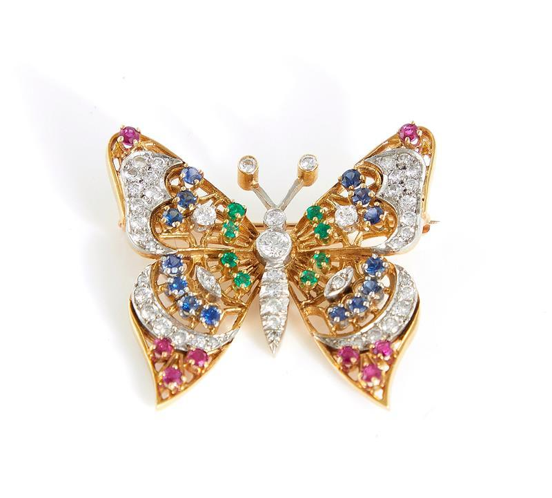 Diamond and gemstone butterfly brooches (2pcs)